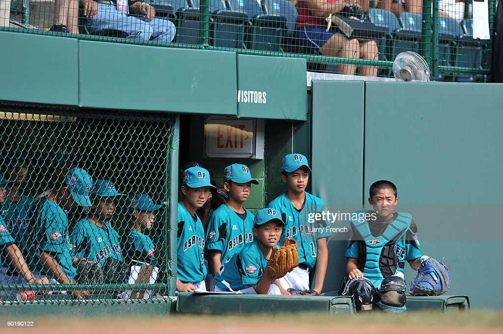 Asia Pacific (Taoyuan, Taiwan) players wait to take the field during the game against California (Chula Vista) in the little league world series final at Lamade Stadium on August 30, 2009 in Williamsport, Pennsylvania.