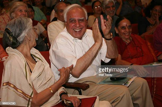Asia project chairperson Kapila Vatsyayan Union HRD minister Kapil Sibal and author Leila Seth at the launch of the book We The Children Of India The...