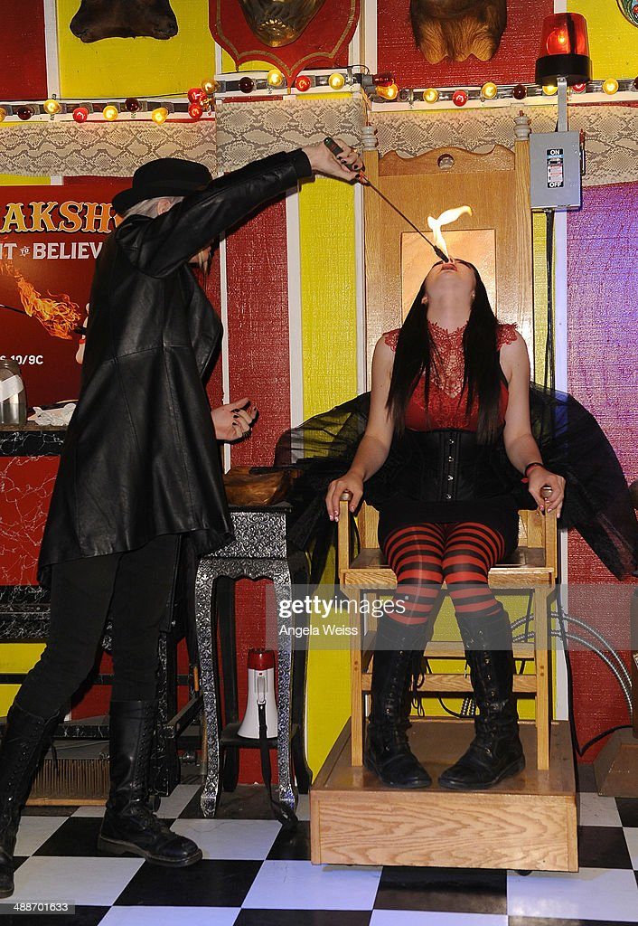 Asia Ray and Morgue pose at AMC's 'Freakshow' cast meet and greet on May 7 2014 in Venice California