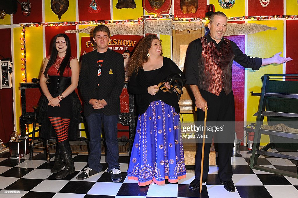 Asia Ray Phoenix Ray Danielle 'Freakshow Mama' Ray and Todd Ray pose at AMC's 'Freakshow' cast meet and greet on May 7 2014 in Venice California