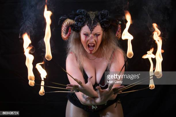 Asia Sawicka as Anastasia IV poses for a photograph prior to a rehearsal of the Circus of Horrors' latest show Voodoo ahead of Halloween at the...