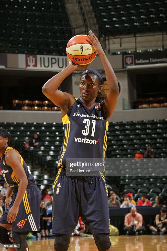 Asia Taylor #31 of Indiana Fever shoots a free throw against the Dallas Wings during a preseason game on May 1, 2016 at Bankers Life Fieldhouse in Indianapolis, Indiana.