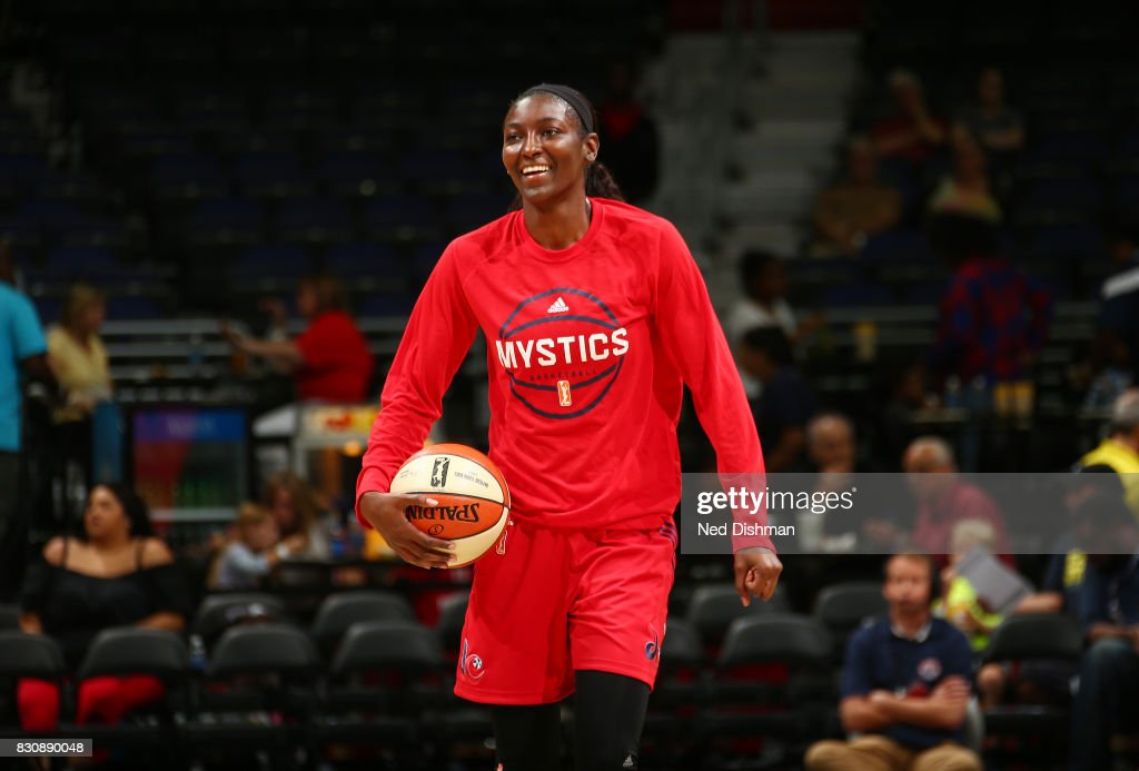 Asia Taylor #31 of the Washington Mystics warms up before the game against the Indiana Fever on August 12, 2017 at the Verizon Center in Washington, DC.