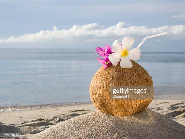 Thailand, Koh Samui, Cocktail in coconut cup on sandy beach