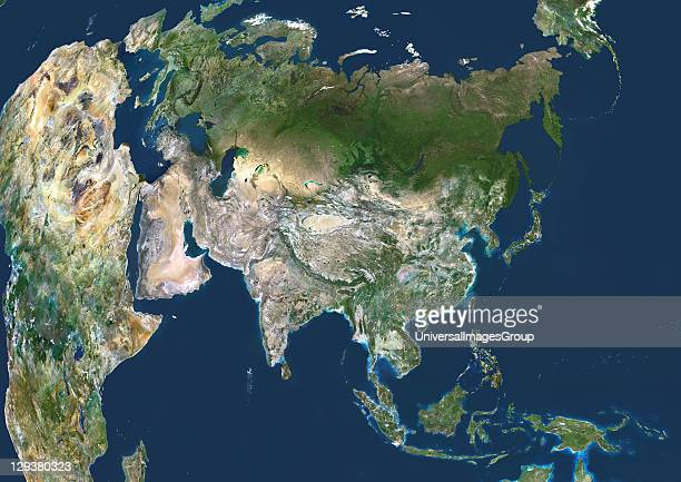 Asia True colour satellite image centred on Asia with nearly all of Africa and Europe seen This image shows the curvature of the Earth with...