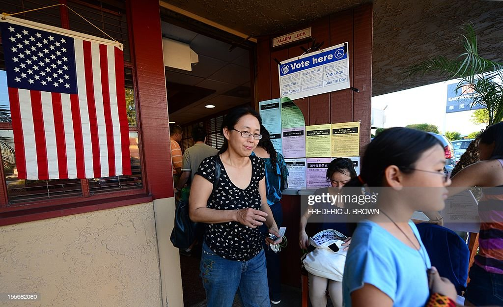 Asian Americans vote on Election Day at a Denny's Restaurant in Temple City, Los Angeles County, on November 6, 2012 in California, as Americans flock to the polls nationwide to decide between President Barack Obama, his Rebuplican challenger Mitt Romney, and a wide range of other issues. Temple City is one of six cities in California's 49th Assembly District, the state's first legislative district where Asian-Americans make up the majority of the population. AFP PHOTO/Frederic J. BROWN