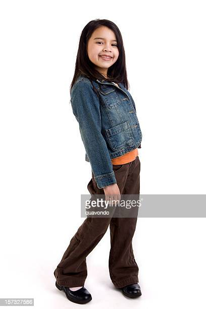 Asian and Hispanic Mixed Elementary Age Girl on White, Copyspace