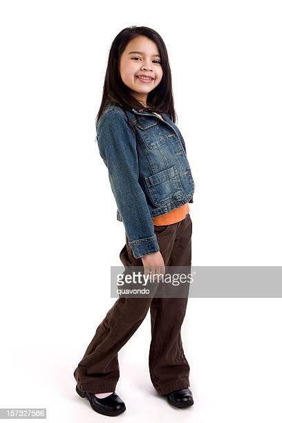 Asiatische und Hispanic gemischte Kind im Grundschulalter Mädchen auf weiß, Copyspace