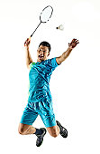 one asian badminton player man isolated on white background