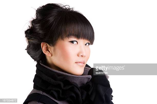 Asian Beautiful Young Woman Fashion Model Portrait on White, Copyspace