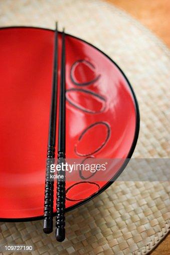 Asian Bowl and Chopsticks : Stock Photo