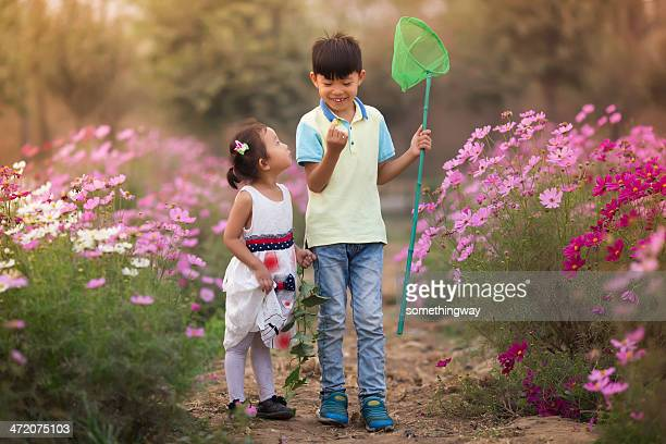 Asian boy and girl caught a butterfly in the garden