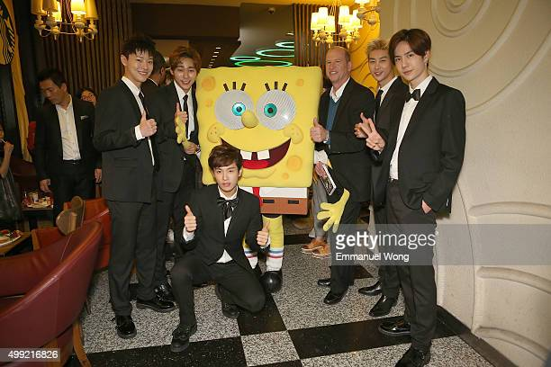 Asian Boy Band UNIQ and Rob Moore the Vice chairman of Paramount Pictures attend the Beijing Premiere of The SpongeBob Movie Sponge Out Of Water at...