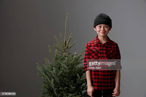 Asian Boys getting a Christmas Tree