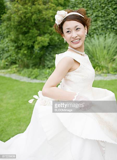 Asian bride smiling