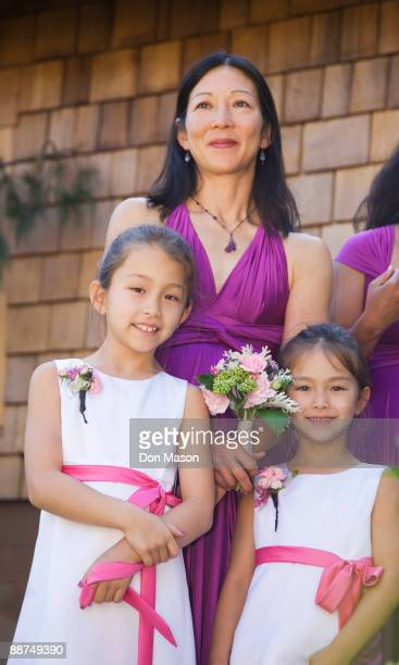 Asian bridesmaids and flower girls