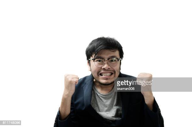Asian business man  looking happy and start up thinking new plan and and new marketing idea with white background