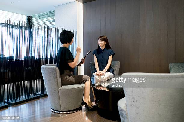 Asian business women in a job interview