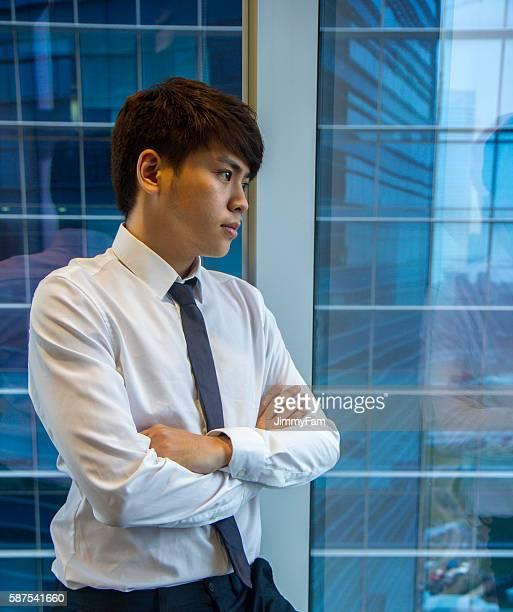Uomo d'affari asiatico profonda In bolla