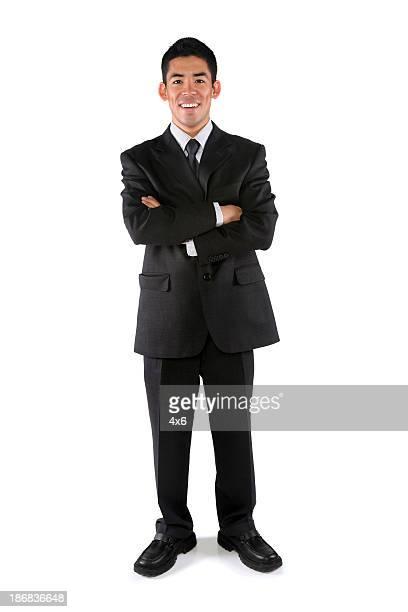 アジアのビジネスマン折りたたみ式アーム