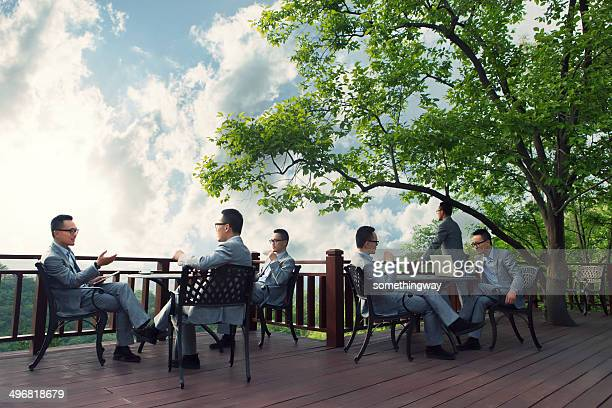 Asian businessman meeting in the outdoor Coffee Hall