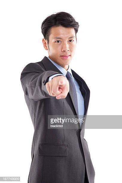 Asian Businessman Pointing to You