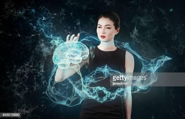 Asiatique, femme d'affaires travaillant avec la réalité virtuelle. Recherche médicale