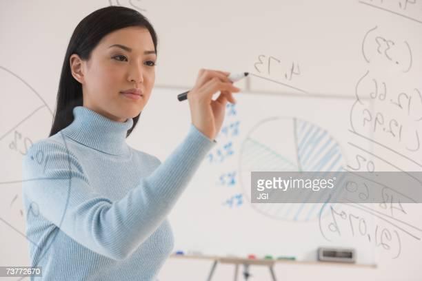 Asian businesswoman writing on white board