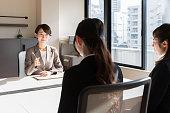 asian businesswomen working in office