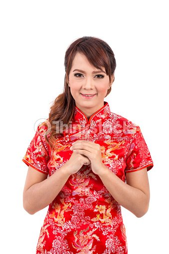 Asian chinese girl greeting in traditional chinese chinese new year asian chinese girl greeting in traditional chinese chinese new year stock photo m4hsunfo