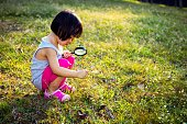 Asian Chinese Little Girl Exploring With Magnifying Glass at outdoor park.