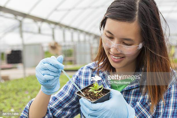 Asian college student working on botany