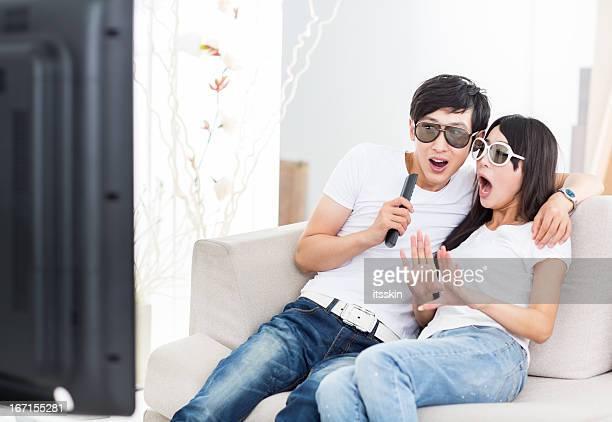 アジアカップル 3 D 映画の眺め