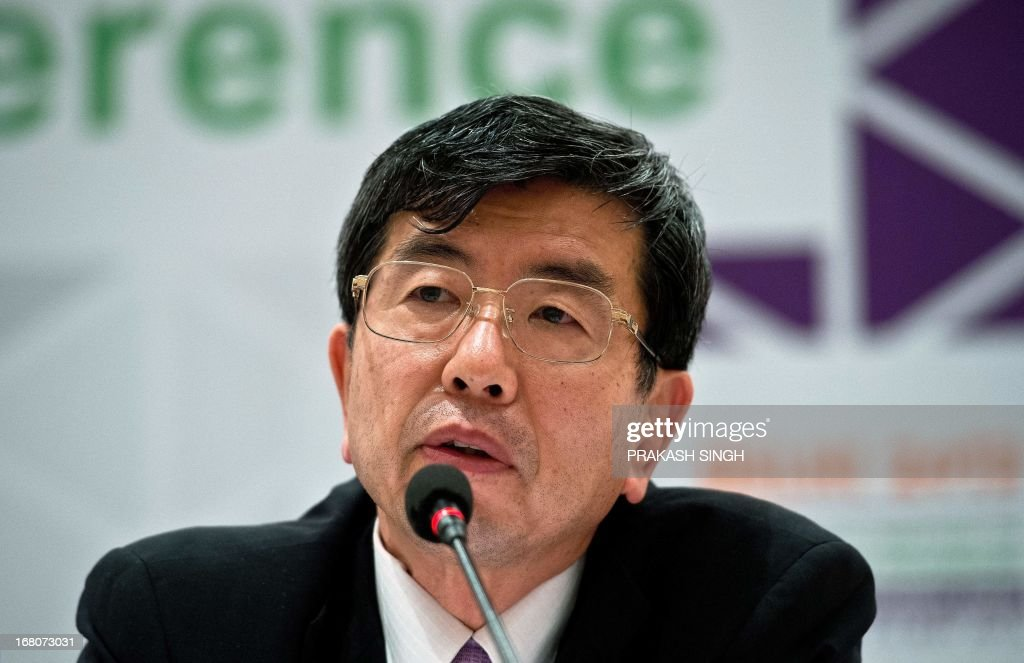 Asian Development Bank (ADB) President Takehiko Nakao addresses a press conference in Greater Noida, some 40kms east of New Delhi on May 5, 2013. Kazakhstan will host the 47th Annual Meeting in Astana. AFP PHOTO/ Prakash SINGH