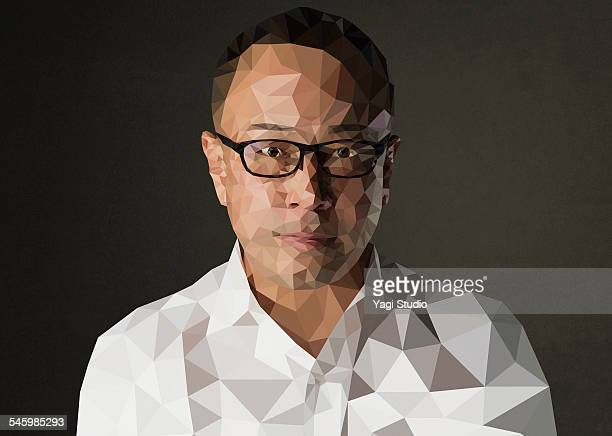 Asian face Man of polygon portrait