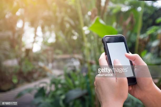 Asian female hand holding smart-phone mobile in the rain forest garden