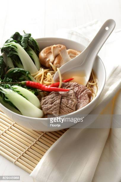Asian Food: Noodle Soup with Beef, Bok Choy and Shiitake Still Life