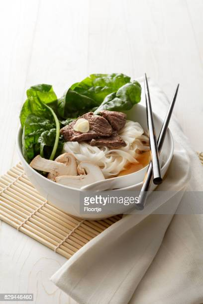 Asian Food: Noodle Soup with Beef, Spinach and Shiitake Still Life