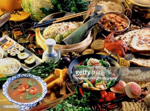 Asian food setting