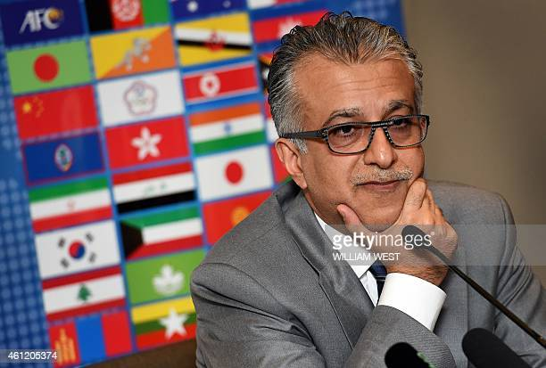 Asian Football Confederation chief Shaikh Salman bin Ebrahim Al Khalifa speaks at a press conference after the Extraordinary Congress meeting in...