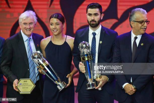 Asian Football Confederation Women's Player of the Year Samantha Kerr of Australia and Sky Blue FC and Men's Player of the Year Omar Khrbin of Syria...