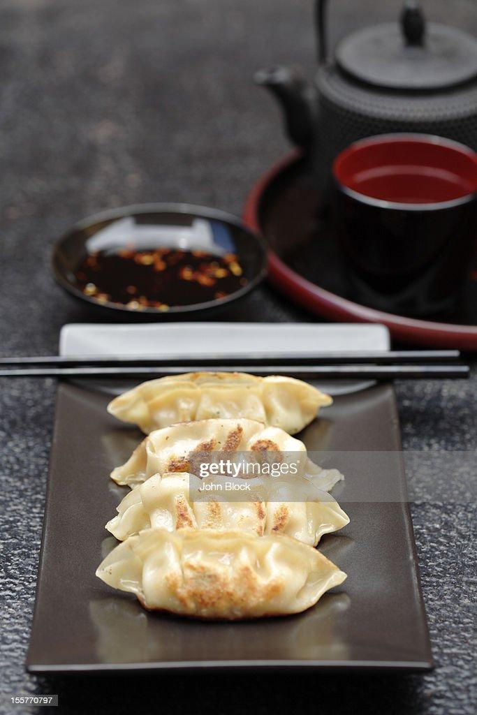 Asian fried dumplings on tray : Stock Photo