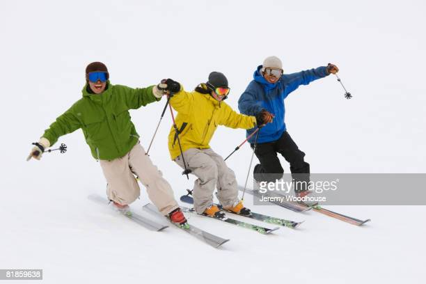 Asian friends skiing