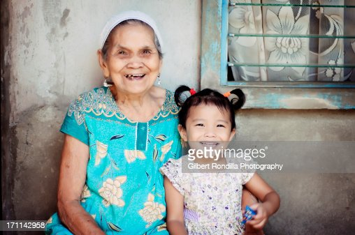Asian girl and her great grandmother