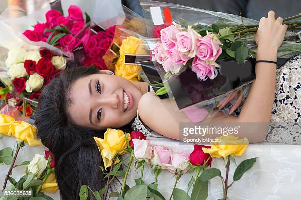 Asian girl and rose