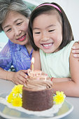 Asian girl celebrating birthday with grandmother