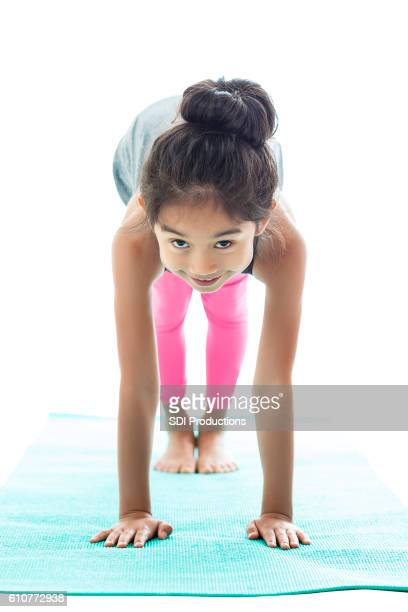 Asian girl in a yoga pose