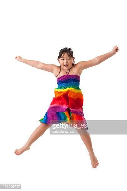 Asiatische Mädchen in Regenbogen Farbe Kleid