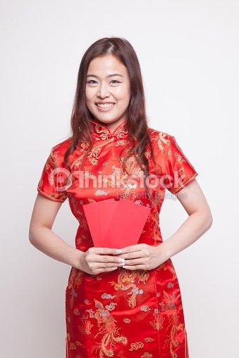 079649a7b Asian Girl In Red Chinese Cheongsam Dress Stock Photo - Thinkstock