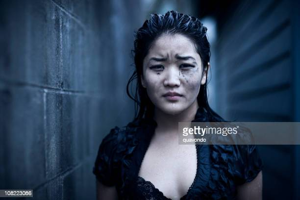 Asian Young Woman Portrait, Wet and Crying in Rain, Copyspace